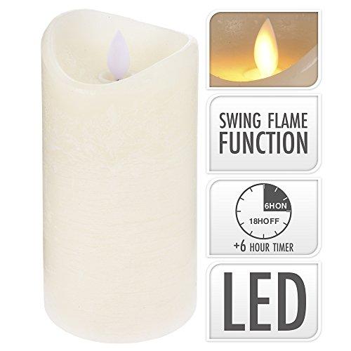 LED Echtwachs-Kerze flackernd mit Timer, 15 cm hoch, weiss