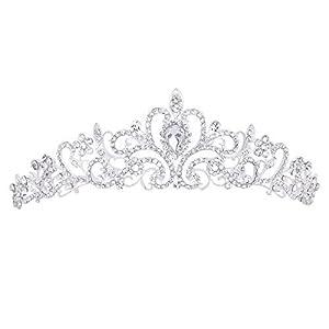 PIXNOR Tiara/Tiara, für Hochzeiten, Brautjungfer, glänzende Kristalle, Strasssteine, silberfarben
