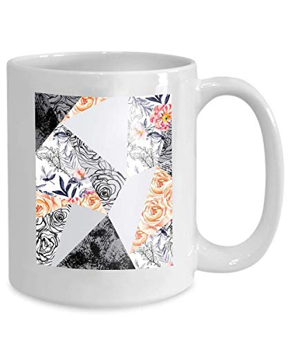 Mug Coffee Tea Cup Ink Doodle Flowers Leaves Weeds Abstract Background Drawn Floral Elements Roses Anemones 110z Anemone Cup