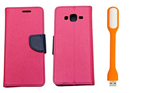 Novo Style Fancy Diary Flip Cover Case For Samsung Galaxy Grand 2 7106 Pink + Mini USB LED Light Adjust Angle / bendable Portable Flexible USB Light  available at amazon for Rs.244