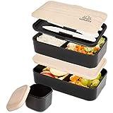 Umami Lunch Box Noir Bambou   Boîte Bento Japonaise Premium avec 3 Couverts Solides Et 1 Pot À Sauce   1200ml   Hermétique   Passe Au Micro-Ondes Et Au Lave-Vaisselle   sans BPA   Marque Déposée