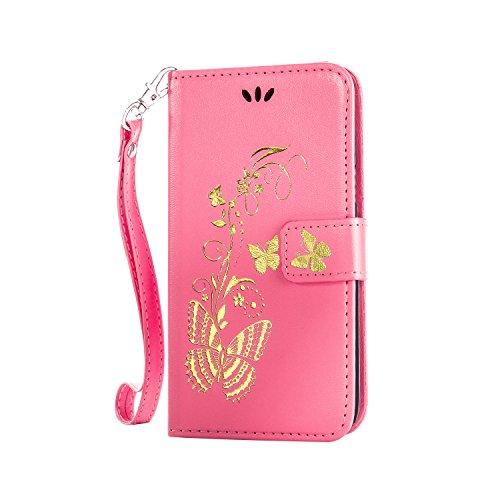 Anlike Lenovo A1000 Hülle, Schutzhülle für Lenovo A1000 Wallet Tasche [Butterfly geprägte Serie Bronzing] Handyhülle - Rosa