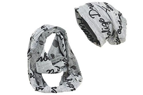 Shenky - Ensemble bonnet et écharpe - style classique Imprimé Hyperbolize/gris clair