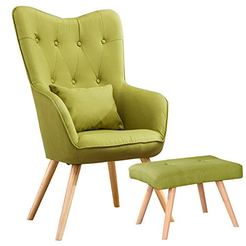 WarmieHomy Modern Occasional Chair Buttoned Linen Fabric Accent Chair with Footstool for Bedroom Living Room Office Lounge Reception (Green)
