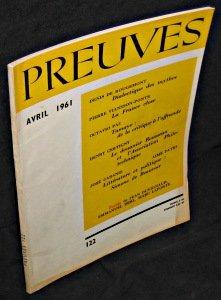 Preuves. n122. Avril 1961