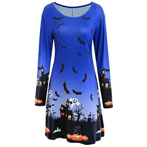 Moonuy Frauen Full Sleeved Dress Damen 2018 Weibliche Halloween Print Langarm Abend Prom Kostüm Elegant Slim Swing Dress