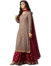 Monika Silk Mill Women's Latest Party Wear Grey & Red Embroidered Georgette Sharara Style Anarkali Salwar Suit...