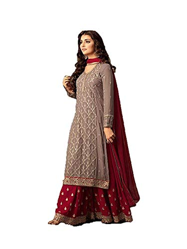 Monika Silk Mill Women\'s Latest Party wear Grey & Red Embroidered Georgette Sharara Style Anarkali Salwar suit Dress materials