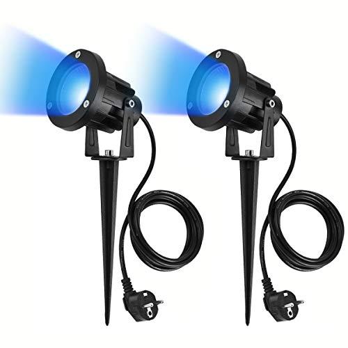 SanGlory 2er Set 7W LED Strahler Blau-Licht mit Erdspieß, 2m Kabel mit Stecker, Led Garten Beleuchtung, Gartenleuchte Gartenstrahler Rasenstrahler IP65 Wasserdicht für Outdoor, Hof, Rasen