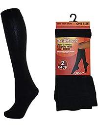 Juego de 4 pares de calcetines térmicos hasta la rodilla, negros, para mujer