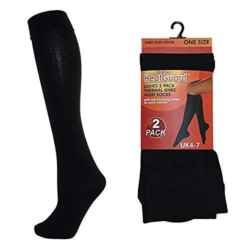 4 Paar Damen Thermo Strümpfe Kniestrümpfe schwarz Frauen Socken 37-41 / schw