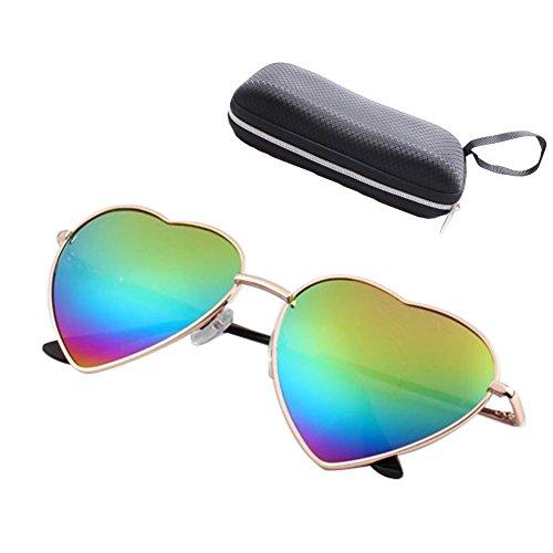 Herren Damen Brille / Herzförmige Sonnenbrille / Reflektierende Linse / Mode Sonnenbrillen Rot Blau Gelb Rot-Blau Hellblau Regenbogen Hibote