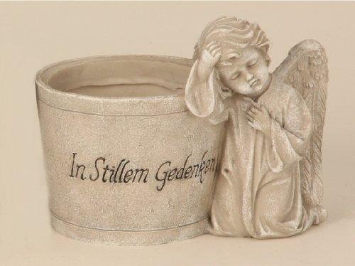 Grabschmuck Engel mit Blumentopf Spruch Grabstein Gedenkstein Grabdeko Deko (Engel Grabstein)