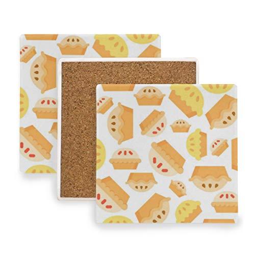 en-nahtloses Muster-Bäckerei-Produkt Untersetzer für Getränke Untersetzer Untersetzer Untersetzer Set Cup Mat Pad 4er Set ()