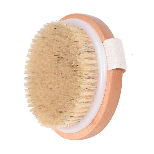 Bath Dry Natural Wooden Body Brush - Duschbürste mit weichen Eberborsten zur Reduzierung von Cellulite und zum Peeling der Haut (Brush Bath Body)