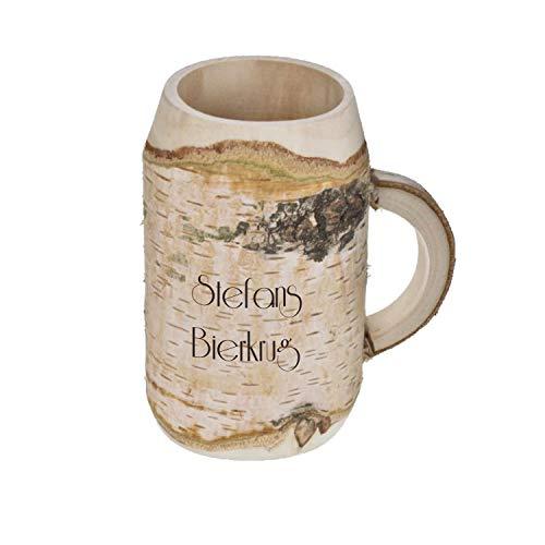 (elasto Großer Holzbierkrug mit Gravur Namen 0,5l   Unikat Dekoration Personalisierter Bierkrug aus Holz mit Namen  Ausgefallenes Geschenk für Männer   Super Vatertagsgeschenk)