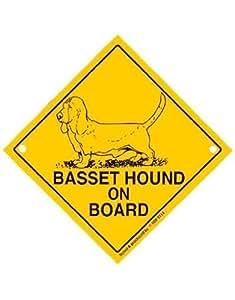 Basset on Board–Adventure Panneau avec ventouse–Dog voiture pour chien à bord