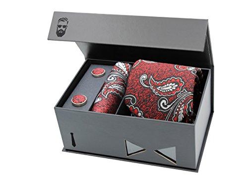 Schlipster Krawatten-Set - Premium Box mit Krawatte, Einstecktuch und Manschettenknöpfen (Rot Paisley)
