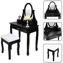 Todeco - Toletta Da Trucco, Tavolino Da Trucco - Materiale: MDF - Dimensione dello specchio: 35,1 x 50,0 cm - 3 cassetti, specchio ovale, Nero