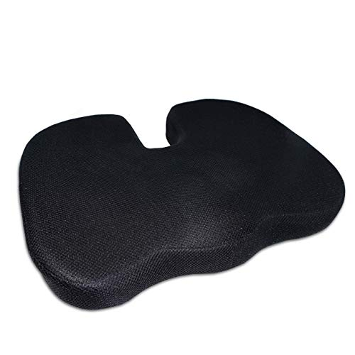 Luxamel | orthopädisches Sitzkissen/Sitzauflage | Memory-Visko-Schaum | Entlastung von Rücken und Steißbeinschmerzen | Inkl. Anti Rutsch System