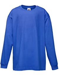 Fruit Of The Loom Kinder T-Shirt, langarm 12 Jahre,Blau - Royal