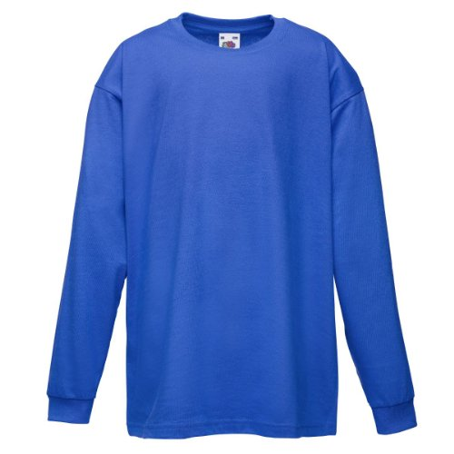 Fruit Of The Loom Kinder T-Shirt, langarm 3 Jahre,Blau - Royal (Langarm-shirt Blau)