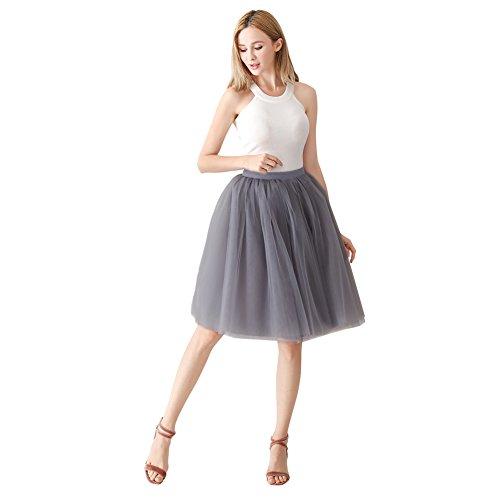 ShowYeu Damen Mid Calf Petticoat A-Linie Tutu Tüllrock Party Abschlussball Jupe Saias Brautjungfernkleid Smoke Grau