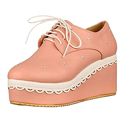 Partiss Damen Japanisch Suess Casual Schuhen Lace Lolita Pumps Herbst Fruehling Cosplay Wedge Platform Pumps High-Heel Shoes Spring Shoes Plateauschuhe fuer Hochzeit Tanzenball Maskerade Pink