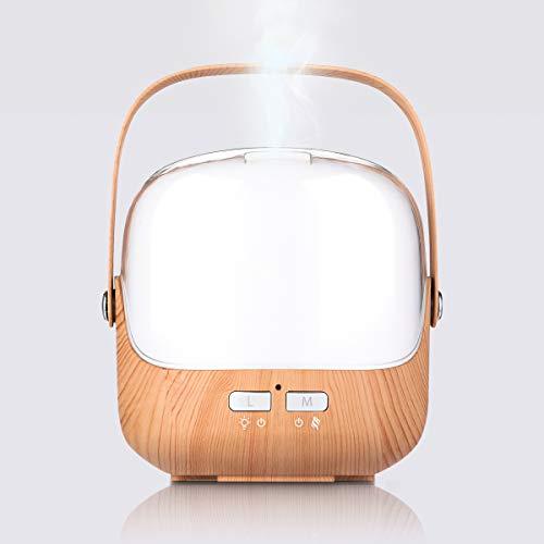 Holzmaserung Luftbefeuchter,Aroma diffusor,Ultraschall Nebelluftbefeuchter,Aromatherapie Maschine,7 Farbige LED Hintergrundbeleuchtung,Zwei Befeuchtungsmodi,Tragbar Griff,Kreative Bunte
