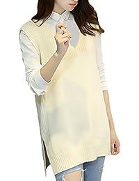Chaleco Mujer Primavera Otoño Moda Joven Elegantes Color Retro Sólido Anchos  Sudaderas Chaqueta De Punto V Cuello… 7b7c31045090