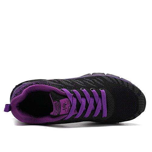 Fexkean Damen Mädchen Laufschuhe Low Top Sportschuhe Sneaker Turnschuhe Mesh Schwarz Pink Rot Violett 35-40 Violett