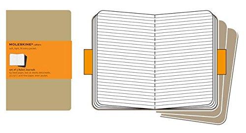 Moleskine Set de 3 cahiers lignés Format de poche Couverture souple 9 x 14 cm Couleur Kraft