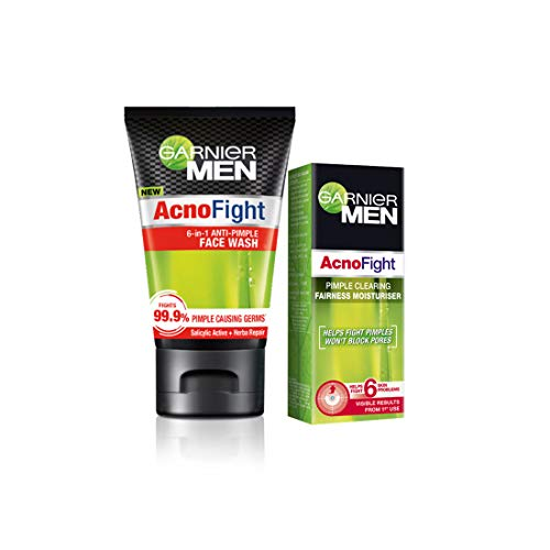 Garnier Anti Pimple Facewash & Pimple Clearing Whitening Day Cream, 145 ml (Pack of 2)