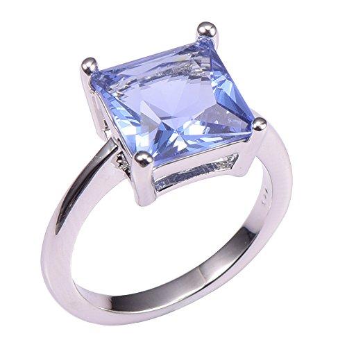 Princess Cut Tanzanite 925 Sterling Silver Filled Filled Ring Size J 1/2 to X 1/2 PR40