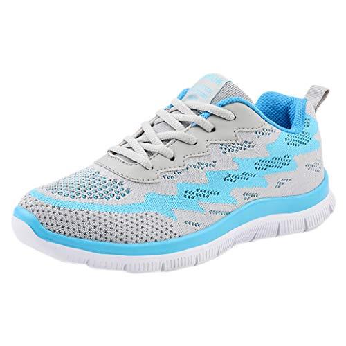Yvelands Moda Mujeres Liquidación Volar Tejer Calzado Casual Zapatos para Caminar al Aire Libre Pisos Zapatos Deportivos(Azul,36)