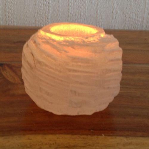 Porta velas redondo de Selenita Natural marroquí diámetro 9 Altura 8 cm