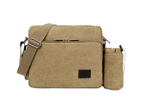 BAAFG Vintage Herren Canvas Leder Messenger Bag Lässig Reise Umhängetaschen Satchel Schule Laptop Tasche Für 8 Zoll Laptop Aktentasche,Khaki-XL -