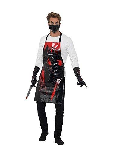 shoperama Blutiges Schlächter Set Halloween Herren Kostüm Lack Schwarz/Rot Butcher Horror Serien-Mörder (Blutige Mörder Kostüm)