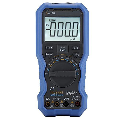 OWON Bluetooth Pinzas de Multimetro, multímetro digital portátil OW18B TRMS 6000 Punto/Amperímetro / Voltímetro/Ohmímetro / Pantalla LCD Retroiluminada/NCV