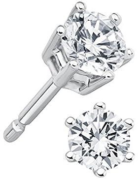 Juwelier Gelber Diamant 0,30 ct Ohrstecker Lupenrein 585 14 Kt Weißgold Klassische 6er Krappen Fassung Brillant...
