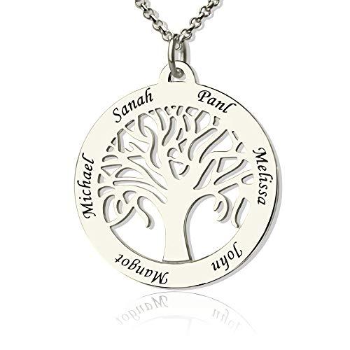 JF Personalisierte Stammbaum Halskette 6 Namen Baum des Lebens Name Halskette für Mama -