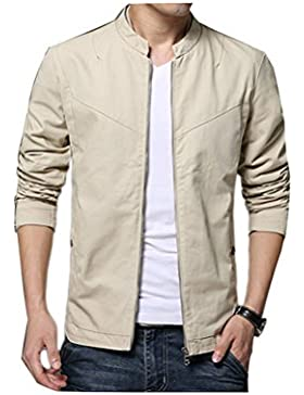 Zhhlaixing Clásico Spring Men's Cotton Thin Jackets Zipped Lightweight Coats Solid Color