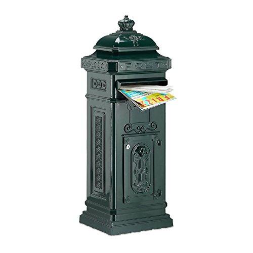 Relaxdays Standbriefkasten Antik HBT: 106 x 38 x 34 cm nostalgischer Säulenbriefkasten aus rostfreiem Aluminium englischer Briefkasten Postkasten in britischem Design mit Posthorn, grün