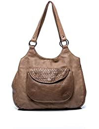 FEYNSINN sac porté épaule ALLY - besace en cuir - tote bag retro look usé vintage-marron