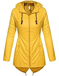Yying New Mujer Contraste Contraste Cremallera Ligera Impermeable Chaqueta Impermeable