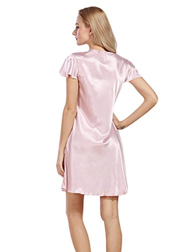 Menschwear Damen Nightgown Schlaf T-Shirt Schlaf Shirt Scoopneck Kurzarm Nachtwäsche Rosa