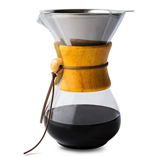 Comfify Pour Over Caffettiera con caraffa in vetro borosilicato e filtro permanente riutilizzabile in acciaio inox per macchina da caffè Dripper Brewer manuale con vero legno colore dell\'acero -500ml.