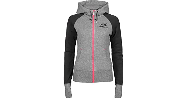 cffc1ada6289 Nike AW77 Team FZ W sweat capuche zippé S black htr black red  Amazon.fr   Vêtements et accessoires