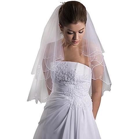MGT-shop sposa velo W48 velo manovella bordi e Swaroswkissteinen e perle sposa dell'abito bianco panna colore avorio fine in tulle 80/60/150 cm