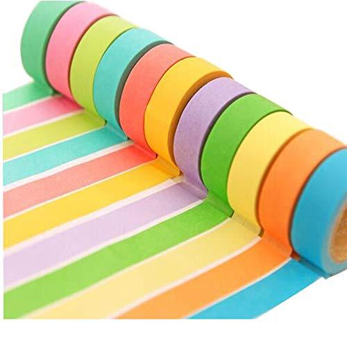 Nanhua, carta adesiva arcobaleno, nastro multicolore 15 mm x 10 m per appunti, adesivi per album di ritagli, etichette, kit per lavoretti artigianali fai da te per bambini piccolo (10 pezzi)